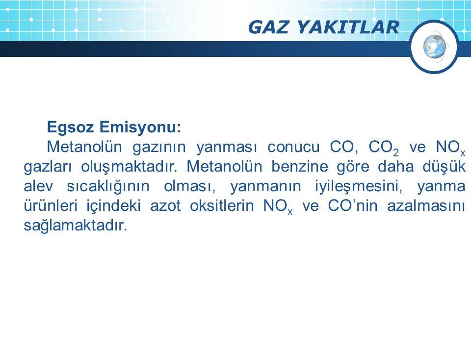 GAZ YAKITLAR Egsoz Emisyonu:
