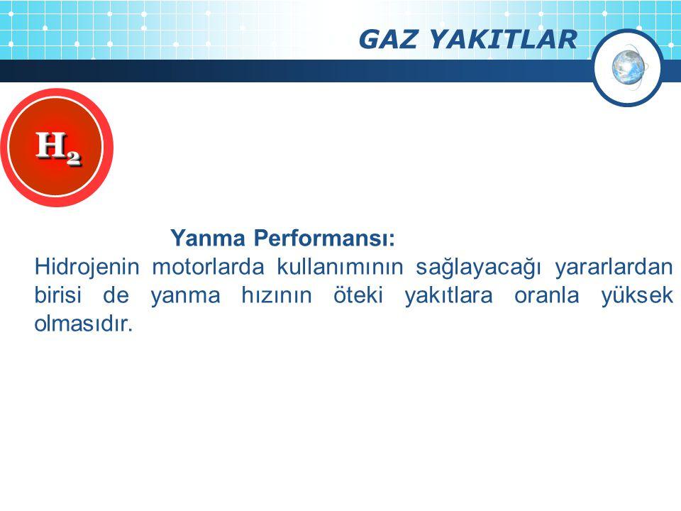H2 GAZ YAKITLAR Yanma Performansı: