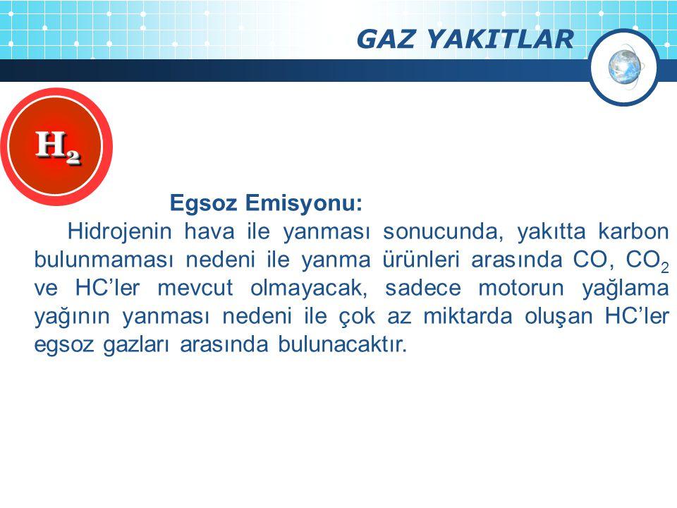 H2 GAZ YAKITLAR Egsoz Emisyonu: