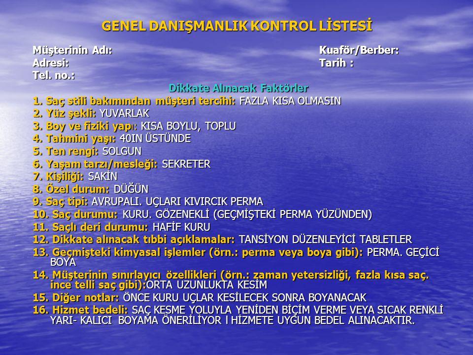GENEL DANIŞMANLIK KONTROL LİSTESİ