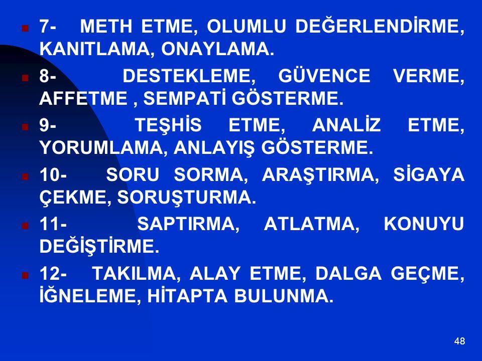 7- METH ETME, OLUMLU DEĞERLENDİRME, KANITLAMA, ONAYLAMA.