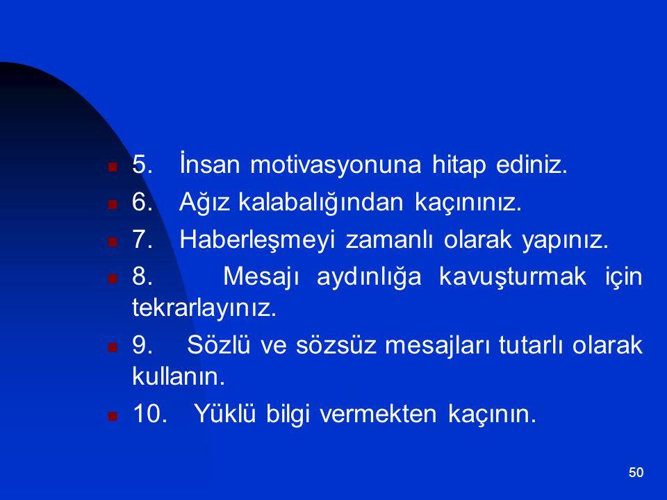 5. İnsan motivasyonuna hitap ediniz.