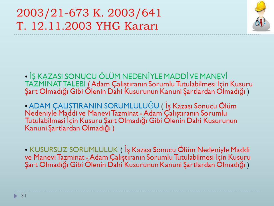 2003/21-673 K. 2003/641 T. 12.11.2003 YHG Kararı