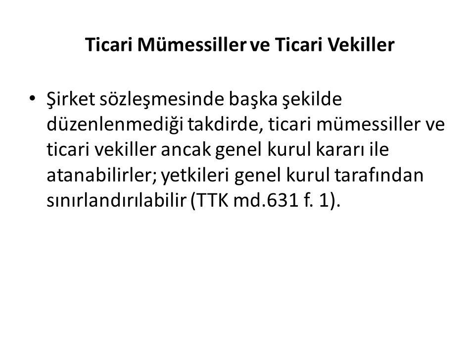 Ticari Mümessiller ve Ticari Vekiller