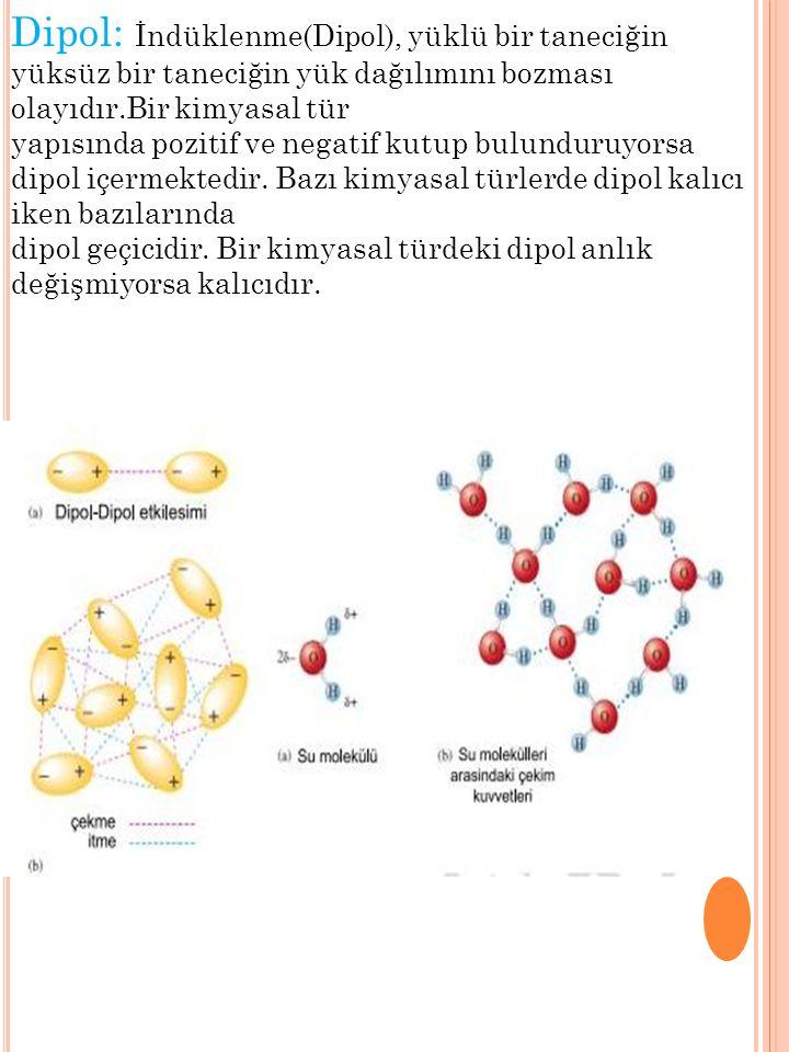 Dipol: İndüklenme(Dipol), yüklü bir taneciğin yüksüz bir taneciğin yük dağılımını bozması olayıdır.Bir kimyasal tür