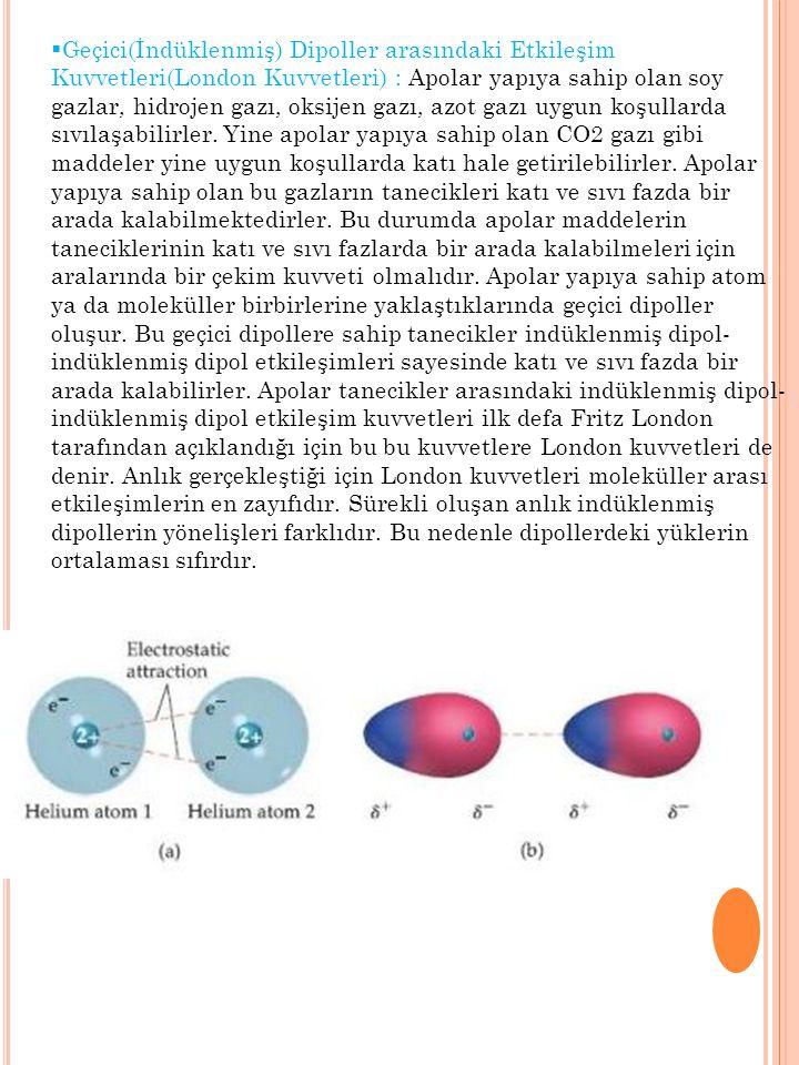 Geçici(İndüklenmiş) Dipoller arasındaki Etkileşim Kuvvetleri(London Kuvvetleri) : Apolar yapıya sahip olan soy gazlar, hidrojen gazı, oksijen gazı, azot gazı uygun koşullarda sıvılaşabilirler.