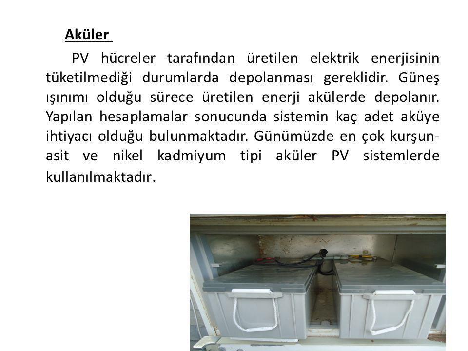 Aküler PV hücreler tarafından üretilen elektrik enerjisinin tüketilmediği durumlarda depolanması gereklidir.