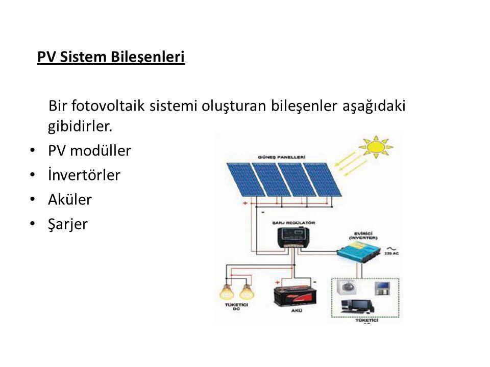 PV Sistem Bileşenleri Bir fotovoltaik sistemi oluşturan bileşenler aşağıdaki gibidirler. PV modüller.
