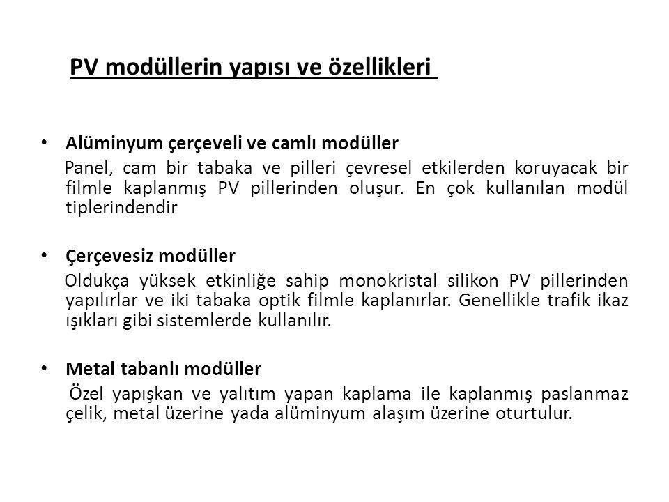 PV modüllerin yapısı ve özellikleri