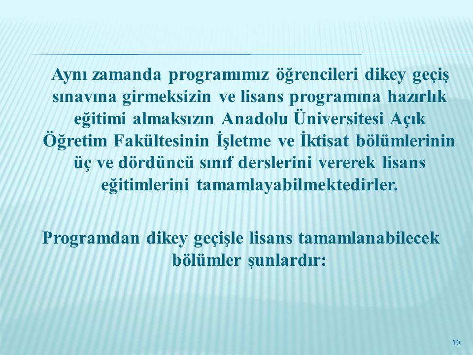 Programdan dikey geçişle lisans tamamlanabilecek bölümler şunlardır: