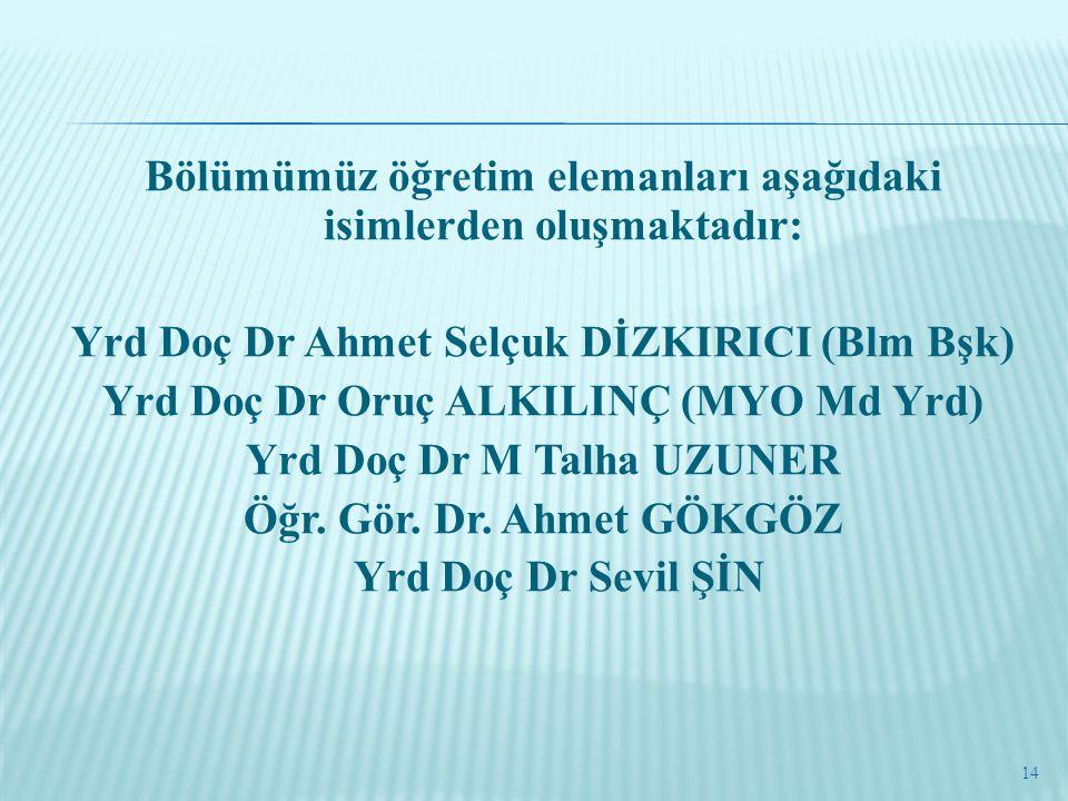 Bölümümüz öğretim elemanları aşağıdaki isimlerden oluşmaktadır: Yrd Doç Dr Ahmet Selçuk DİZKIRICI (Blm Bşk) Yrd Doç Dr Oruç ALKILINÇ (MYO Md Yrd) Yrd Doç Dr M Talha UZUNER Öğr.