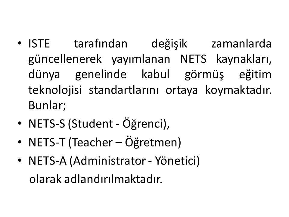 ISTE tarafından değişik zamanlarda güncellenerek yayımlanan NETS kaynakları, dünya genelinde kabul görmüş eğitim teknolojisi standartlarını ortaya koymaktadır. Bunlar;