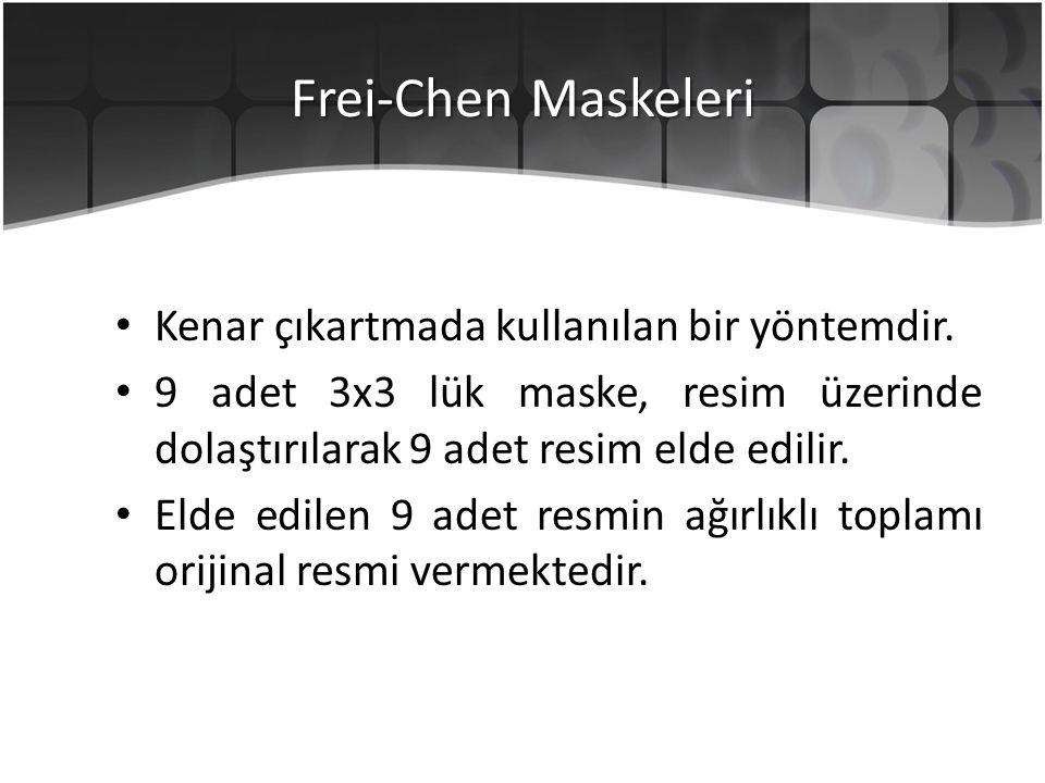 Frei-Chen Maskeleri Kenar çıkartmada kullanılan bir yöntemdir.