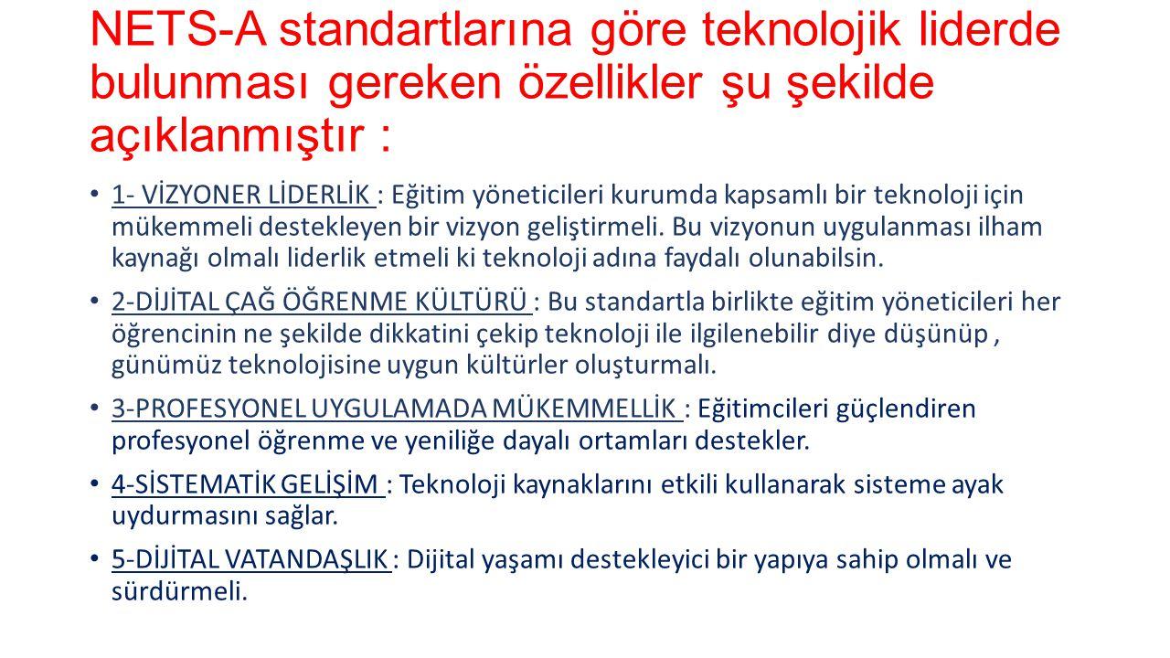 NETS-A standartlarına göre teknolojik liderde bulunması gereken özellikler şu şekilde açıklanmıştır :