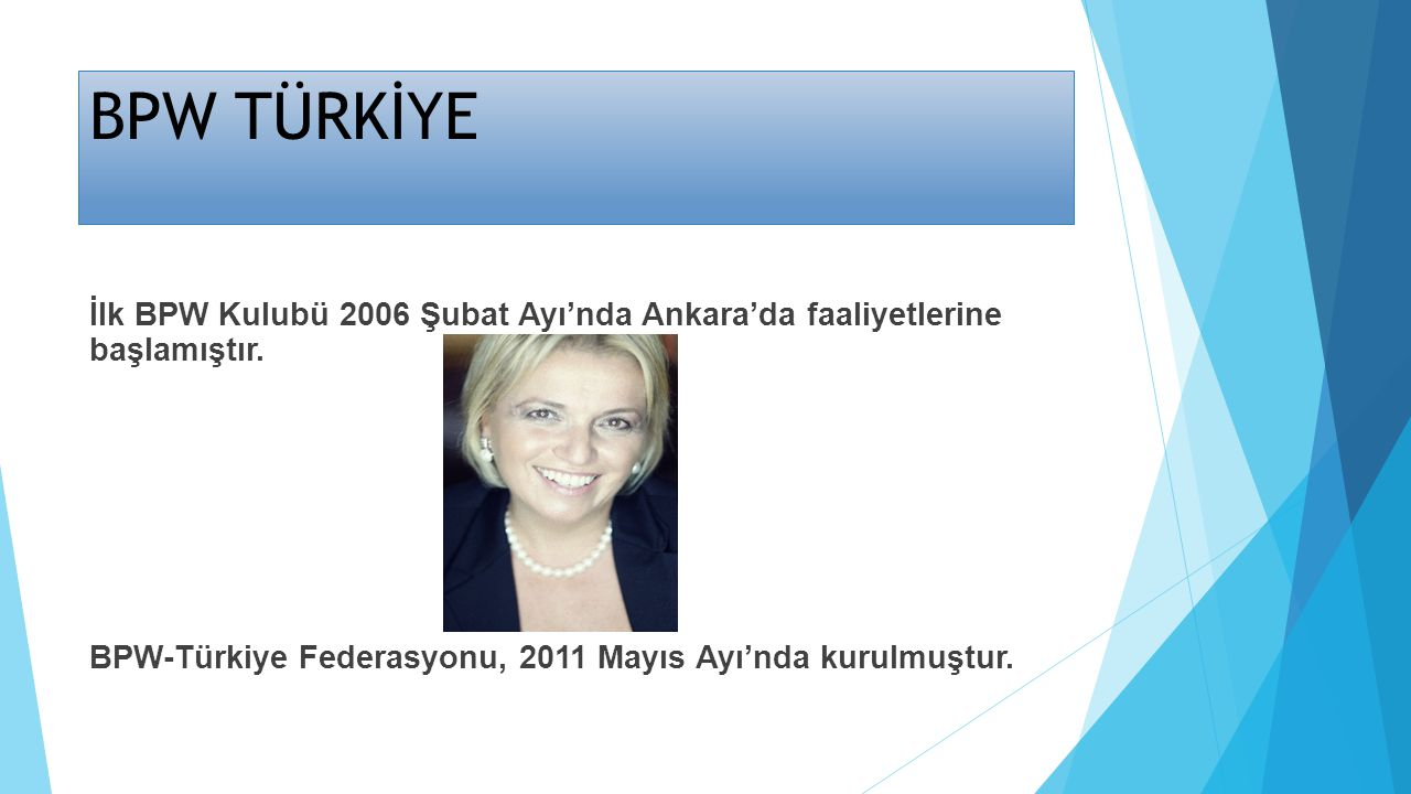 BPW TÜRKİYE İlk BPW Kulubü 2006 Şubat Ayı'nda Ankara'da faaliyetlerine başlamıştır.