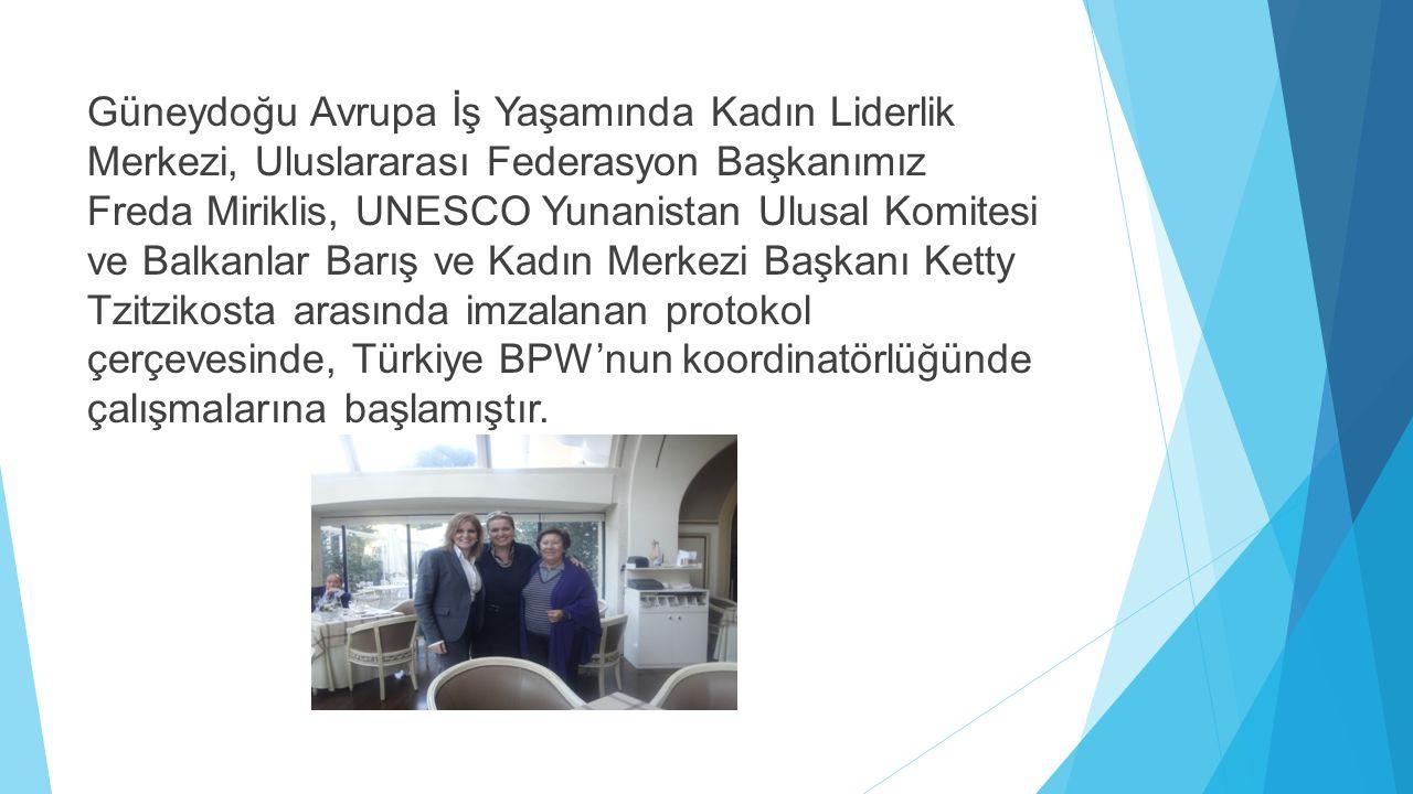 Güneydoğu Avrupa İş Yaşamında Kadın Liderlik Merkezi, Uluslararası Federasyon Başkanımız Freda Miriklis, UNESCO Yunanistan Ulusal Komitesi ve Balkanlar Barış ve Kadın Merkezi Başkanı Ketty Tzitzikosta arasında imzalanan protokol çerçevesinde, Türkiye BPW'nun koordinatörlüğünde çalışmalarına başlamıştır.