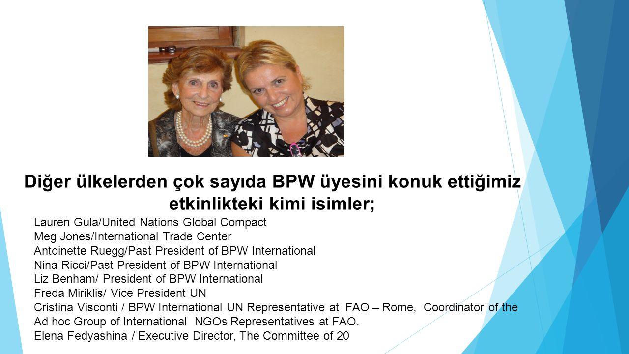 Diğer ülkelerden çok sayıda BPW üyesini konuk ettiğimiz etkinlikteki kimi isimler;