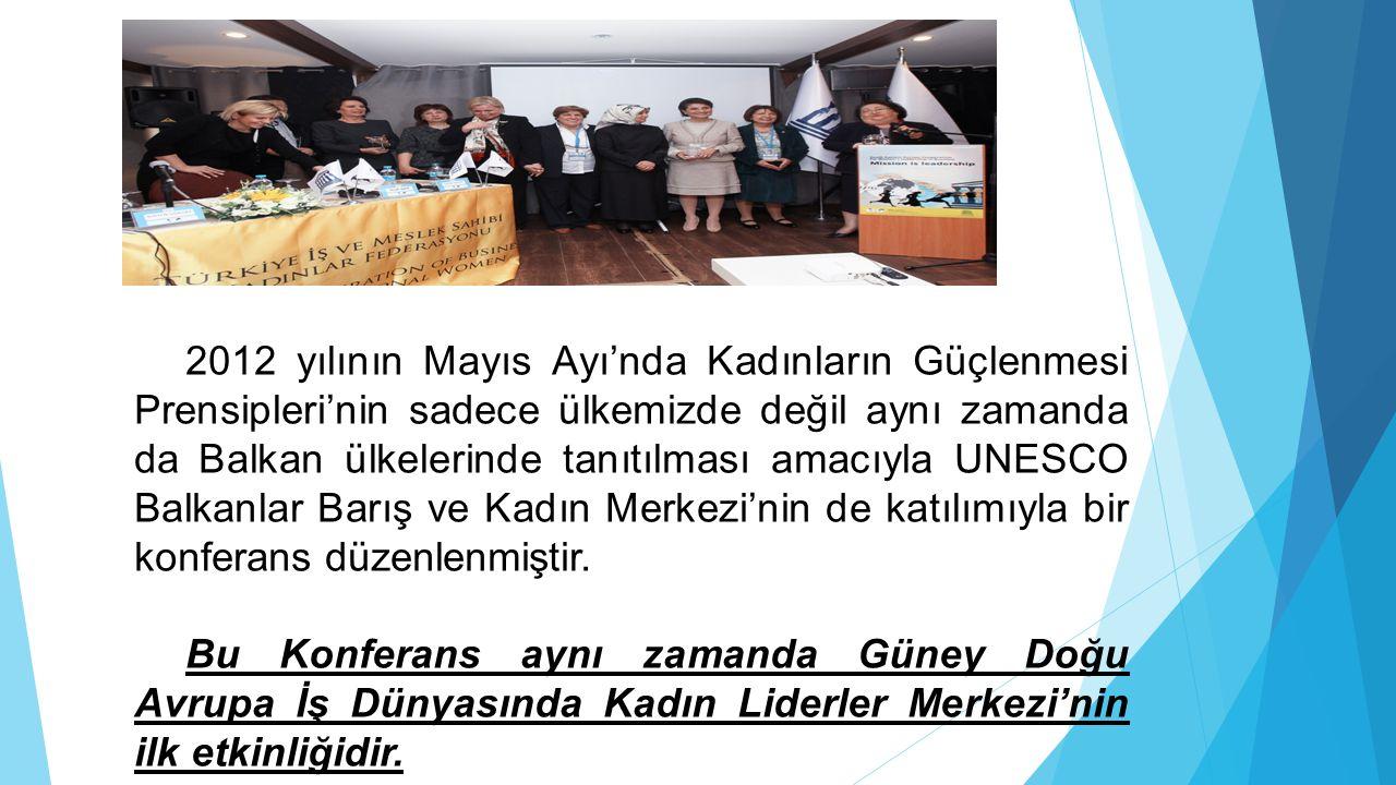 2012 yılının Mayıs Ayı'nda Kadınların Güçlenmesi Prensipleri'nin sadece ülkemizde değil aynı zamanda da Balkan ülkelerinde tanıtılması amacıyla UNESCO Balkanlar Barış ve Kadın Merkezi'nin de katılımıyla bir konferans düzenlenmiştir.