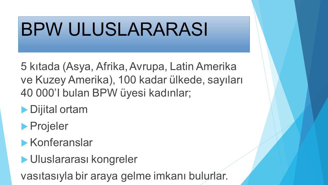 BPW ULUSLARARASI 5 kıtada (Asya, Afrika, Avrupa, Latin Amerika ve Kuzey Amerika), 100 kadar ülkede, sayıları 40 000'I bulan BPW üyesi kadınlar;