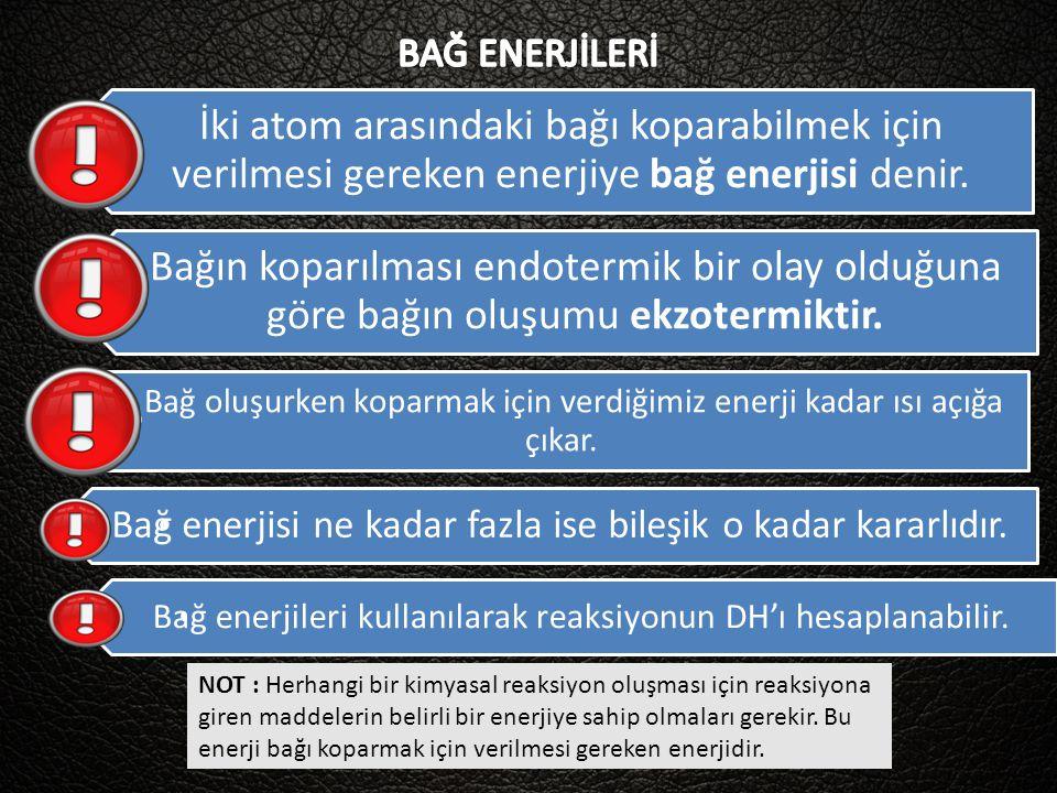BAĞ ENERJİLERİ İki atom arasındaki bağı koparabilmek için verilmesi gereken enerjiye bağ enerjisi denir.