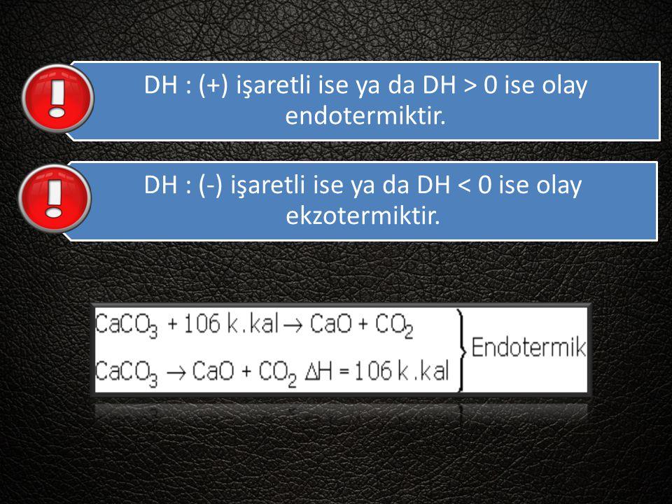 DH : (+) işaretli ise ya da DH > 0 ise olay endotermiktir.