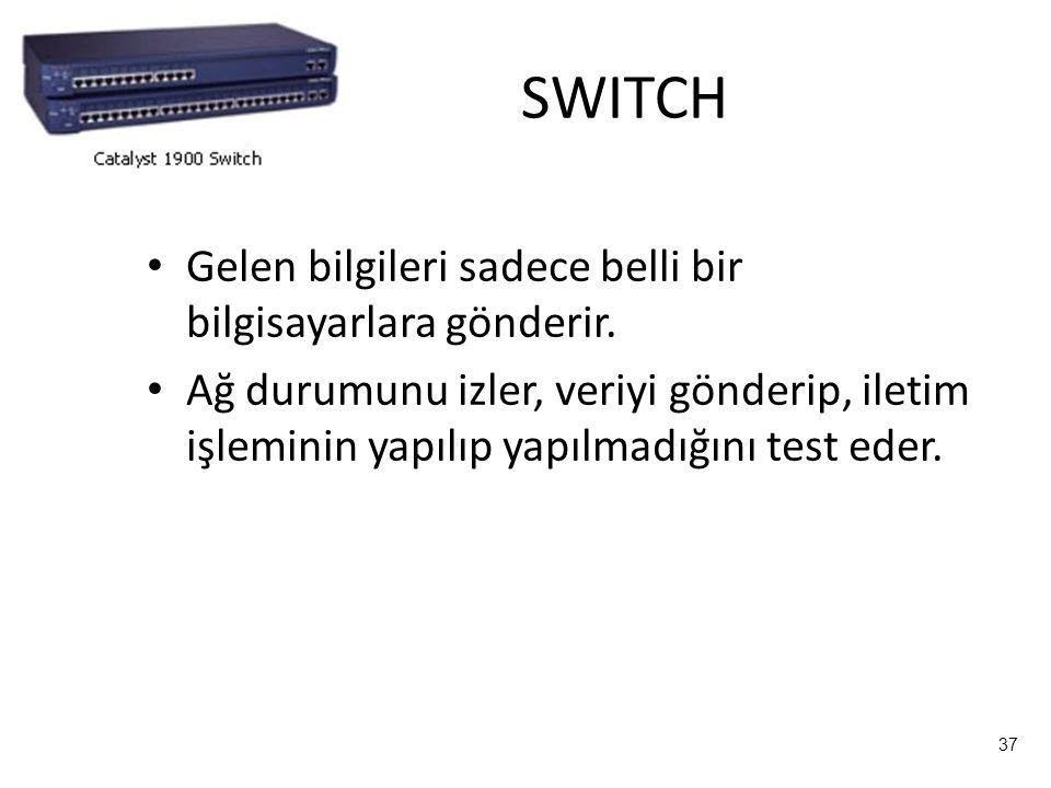 SWITCH Gelen bilgileri sadece belli bir bilgisayarlara gönderir.