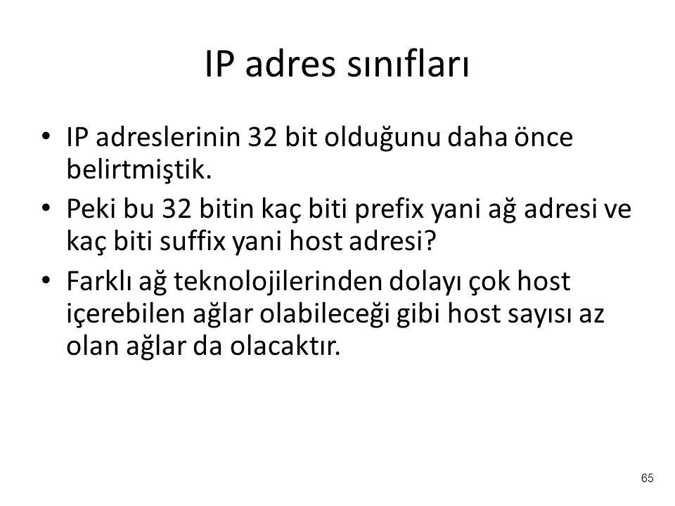 IP adres sınıfları IP adreslerinin 32 bit olduğunu daha önce belirtmiştik.