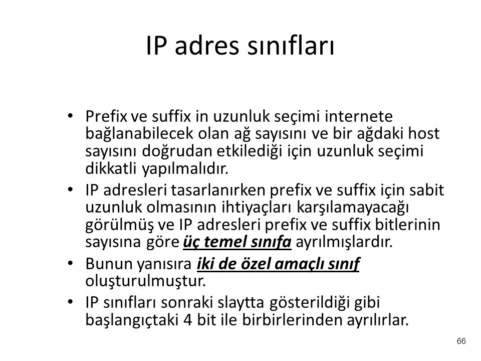 IP adres sınıfları