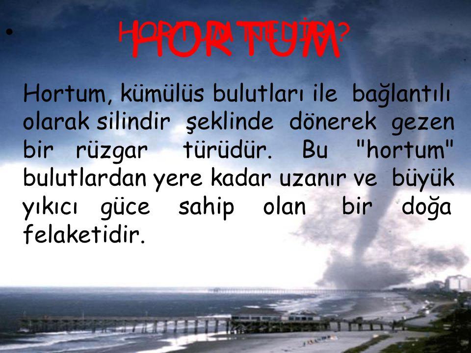 HORTUM NEDİR Hortum, kümülüs bulutları ile bağlantılı olarak silindir şeklinde dönerek gezen bir rüzgar türüdür. Bu hortum bulutlardan yere kadar uzanır ve büyük yıkıcı güce sahip olan bir doğa felaketidir.