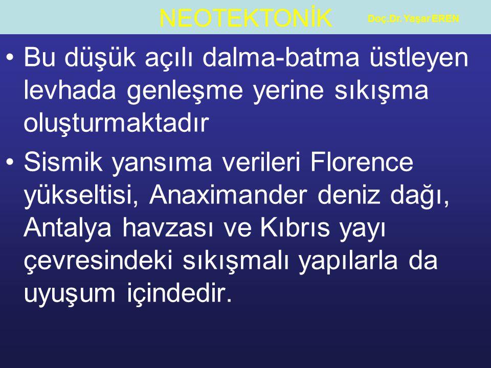 Doç.Dr. Yaşar EREN Bu düşük açılı dalma-batma üstleyen levhada genleşme yerine sıkışma oluşturmaktadır.