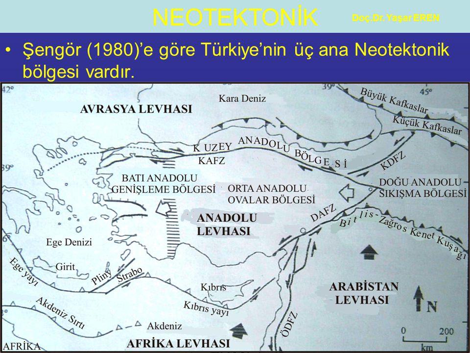 Şengör (1980)'e göre Türkiye'nin üç ana Neotektonik bölgesi vardır.