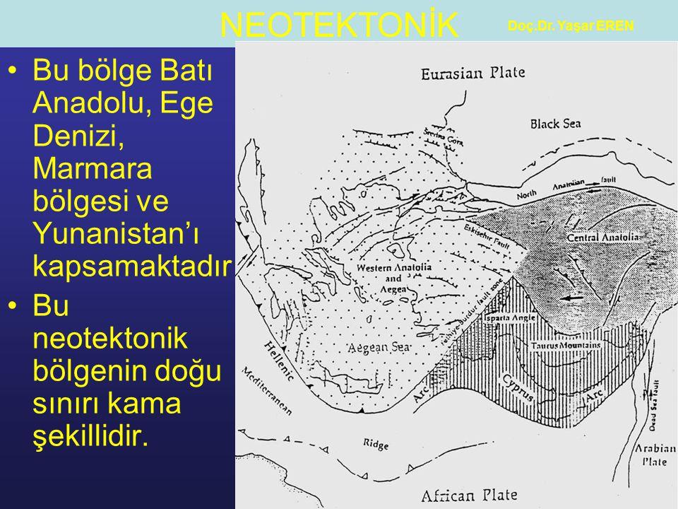 Bu neotektonik bölgenin doğu sınırı kama şekillidir.
