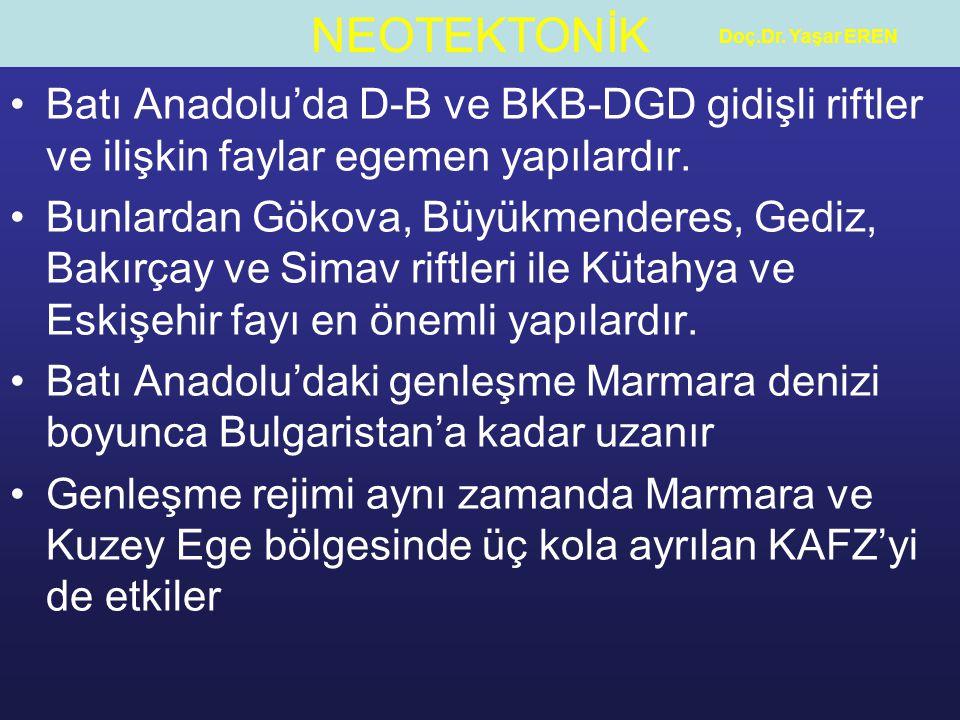 Doç.Dr. Yaşar EREN Batı Anadolu'da D-B ve BKB-DGD gidişli riftler ve ilişkin faylar egemen yapılardır.