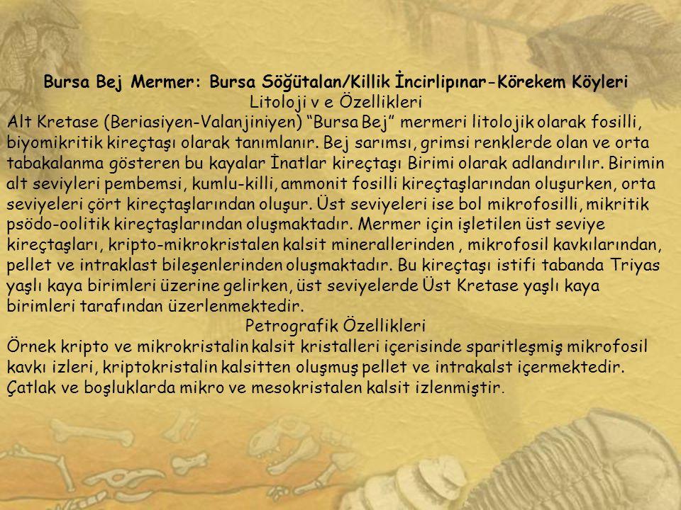 Bursa Bej Mermer: Bursa Söğütalan/Killik İncirlipınar-Körekem Köyleri