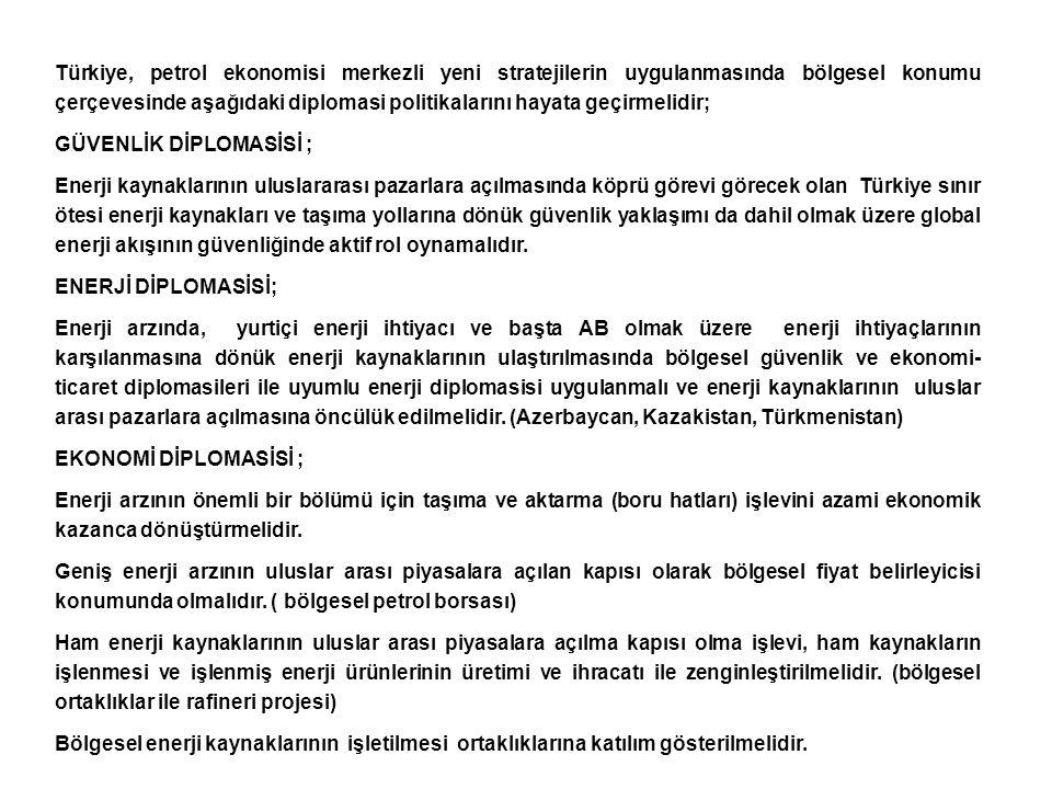 Türkiye, petrol ekonomisi merkezli yeni stratejilerin uygulanmasında bölgesel konumu çerçevesinde aşağıdaki diplomasi politikalarını hayata geçirmelidir;