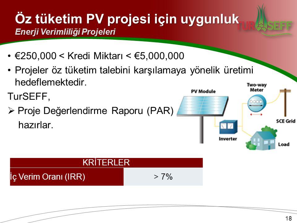 Öz tüketim PV projesi için uygunluk
