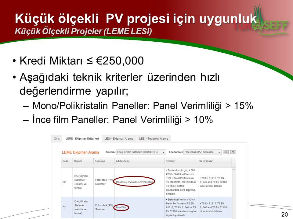 Küçük ölçekli PV projesi için uygunluk