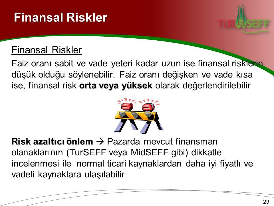 Finansal Riskler Finansal Riskler