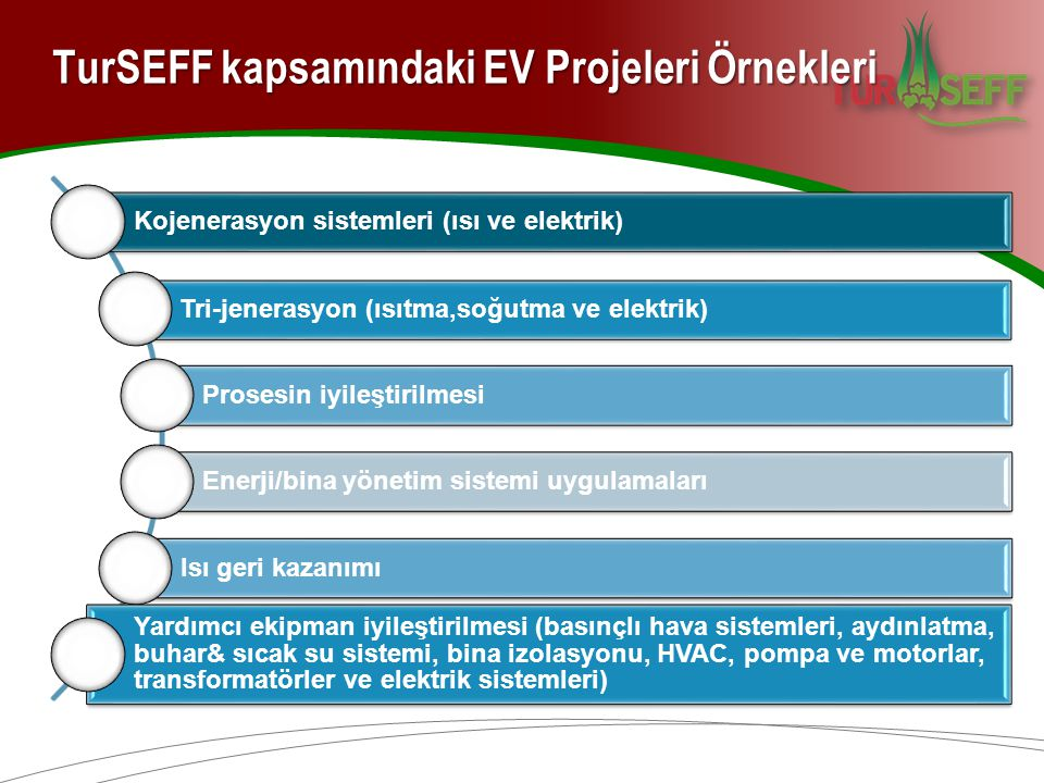 TurSEFF kapsamındaki EV Projeleri Örnekleri
