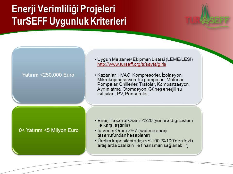 Enerji Verimliliği Projeleri TurSEFF Uygunluk Kriterleri