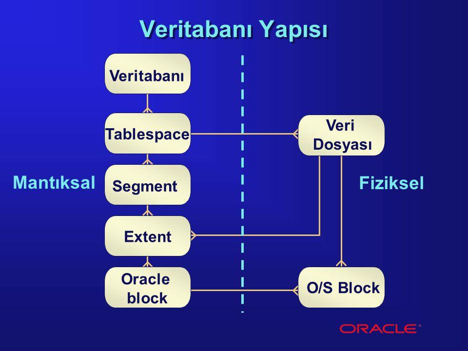 Veritabanı Yapısı Mantıksal Fiziksel Veritabanı Veri Tablespace