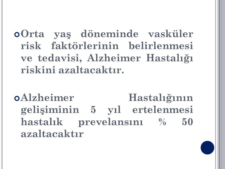 Orta yaş döneminde vasküler risk faktörlerinin belirlenmesi ve tedavisi, Alzheimer Hastalığı riskini azaltacaktır.
