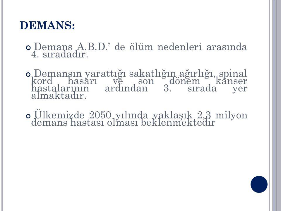 DEMANS: Demans A.B.D.' de ölüm nedenleri arasında 4. sıradadır.