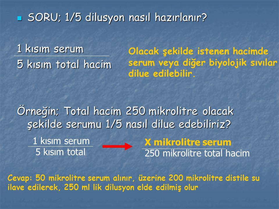SORU; 1/5 dilusyon nasıl hazırlanır 1 kısım serum 5 kısım total hacim