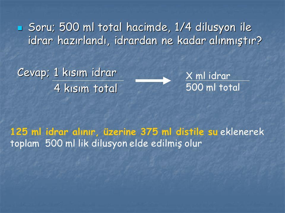 Soru; 500 ml total hacimde, 1/4 dilusyon ile idrar hazırlandı, idrardan ne kadar alınmıştır