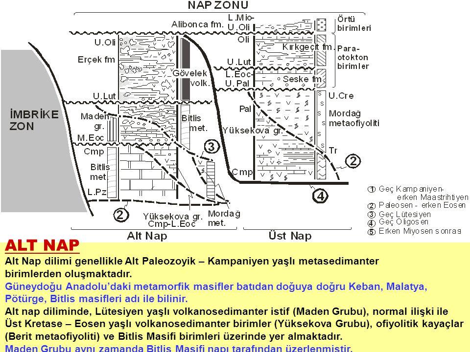 ALT NAP Alt Nap dilimi genellikle Alt Paleozoyik – Kampaniyen yaşlı metasedimanter. birimlerden oluşmaktadır.