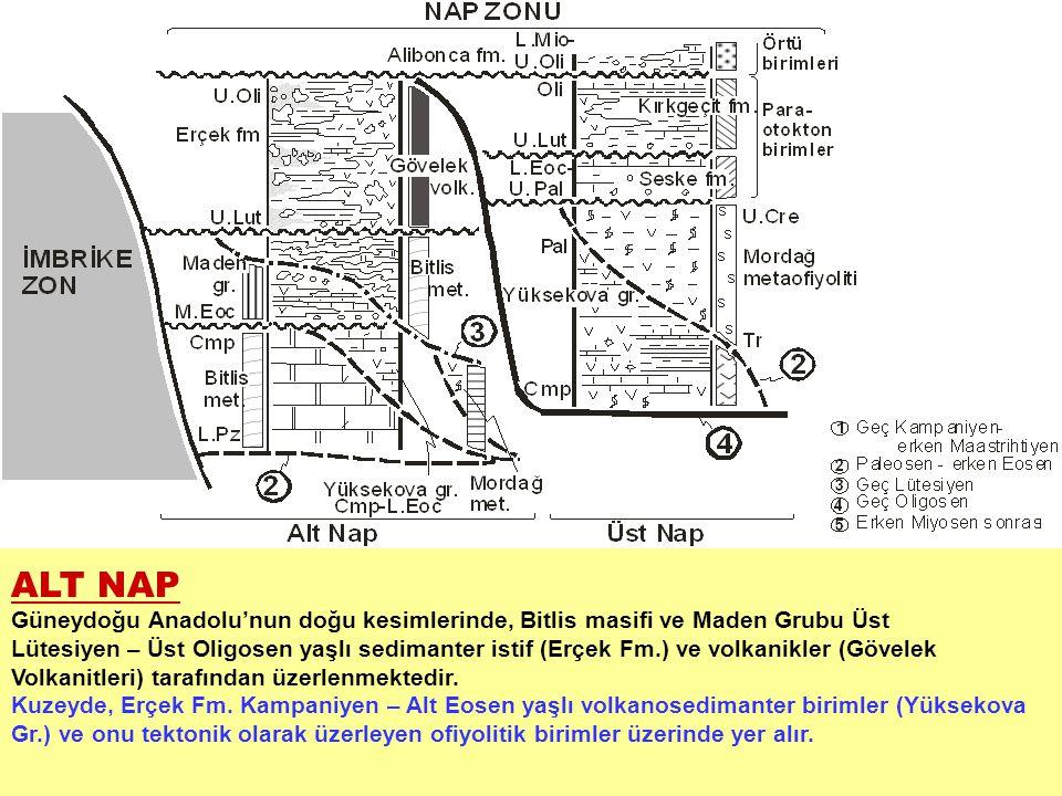ALT NAP Güneydoğu Anadolu'nun doğu kesimlerinde, Bitlis masifi ve Maden Grubu Üst.
