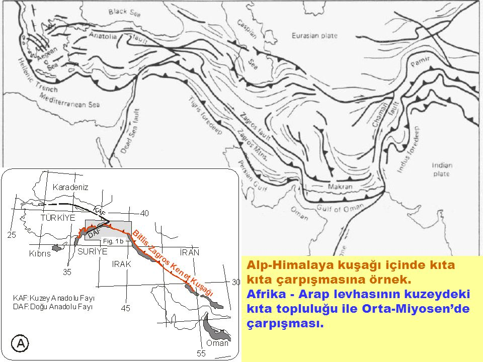 Alp-Himalaya kuşağı içinde kıta kıta çarpışmasına örnek.