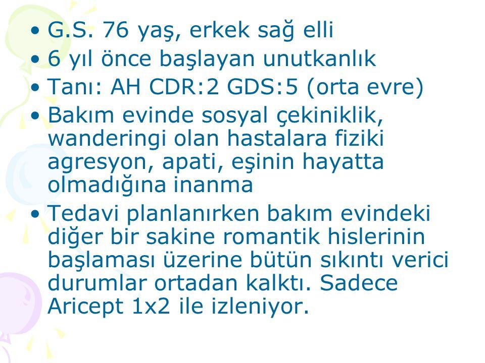 G.S. 76 yaş, erkek sağ elli 6 yıl önce başlayan unutkanlık. Tanı: AH CDR:2 GDS:5 (orta evre)
