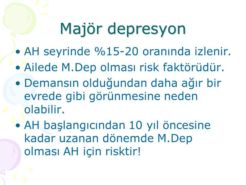 Majör depresyon AH seyrinde %15-20 oranında izlenir.